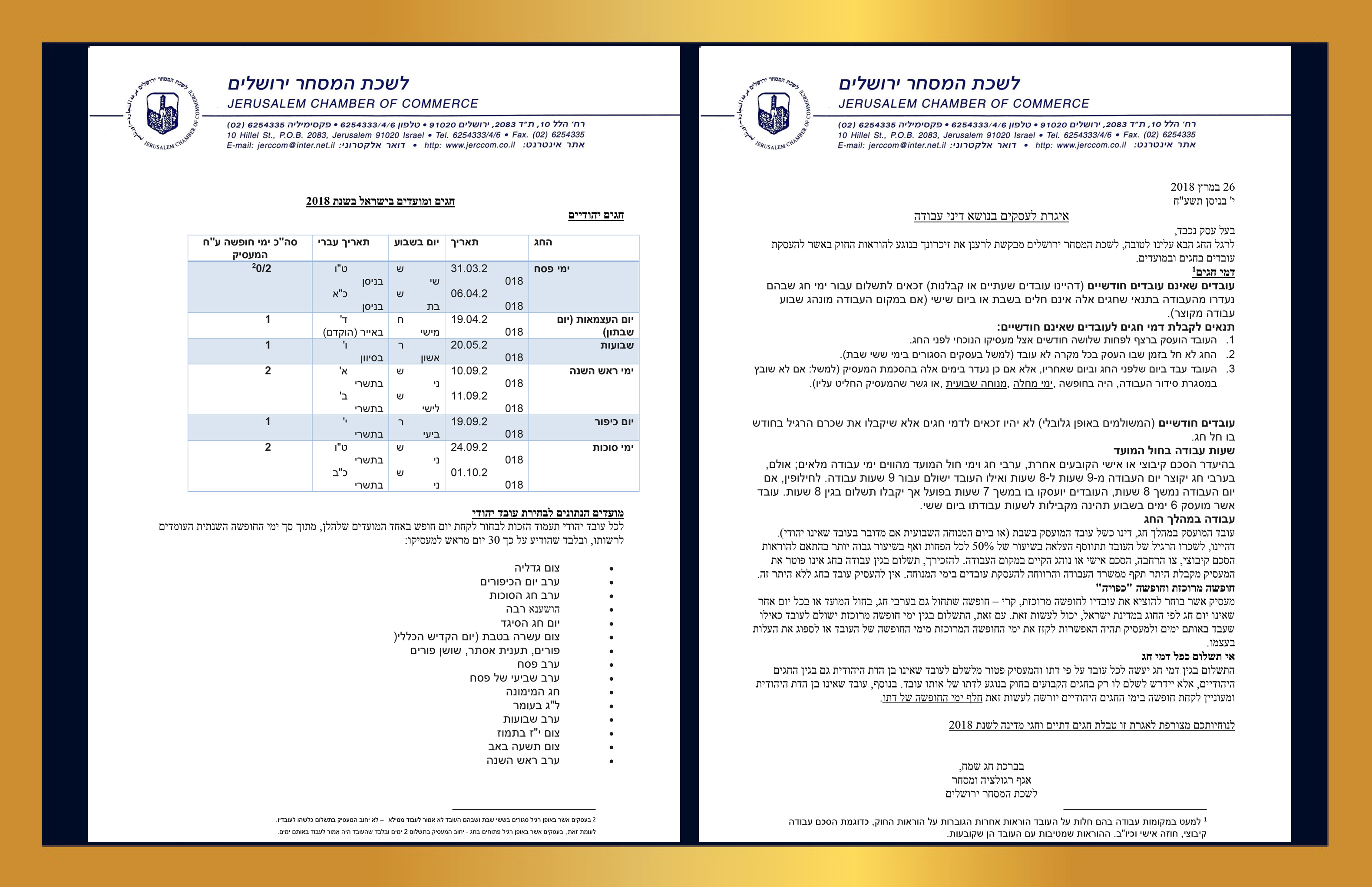 עמודים 1+2 איגרת דיני עבודה לעסקים לרגל חג ה פסח