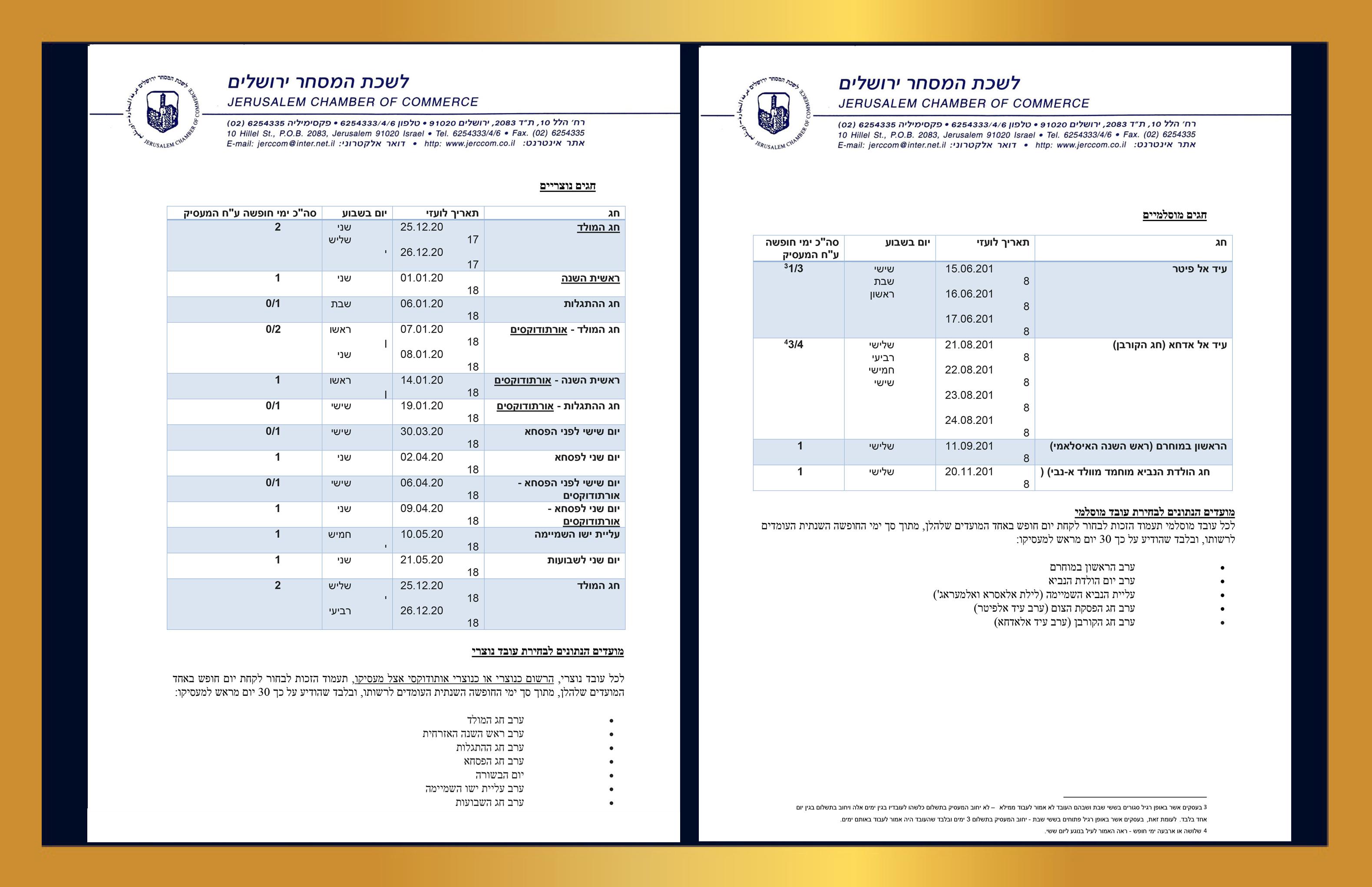 עמודים 3+4 איגרת דיני עבודה לעסקים לרגל חג ה פסח