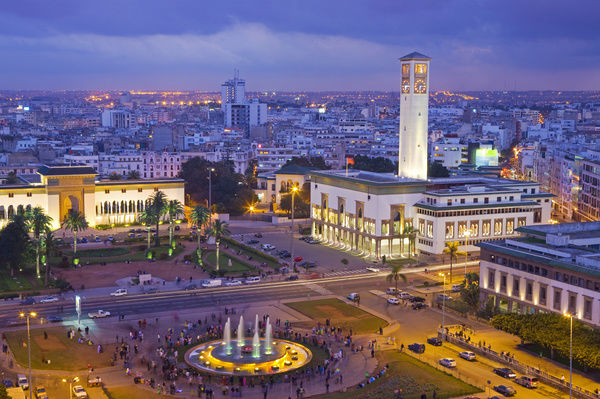 Morocco, Casablanca, Place Mohammed V.The Palais de Justice (law courts) building on the left and the Ancienne Prefecture (Old Police Station) on the right.